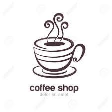 白い背景に分離されたコーヒーや紅茶のカップの線スケッチ イラストベクトルのロゴのデザイン