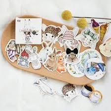 <b>45 pcs</b>/<b>pack Cute</b> Rabbit Stickers Sticker Flakes Rabbit | Etsy