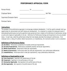 Performance Reviews Samples Employee Performance Appraisal Form Template New Evaluation Samples