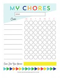 Free Printable Chore Chart For Kids Chore Chart Kids