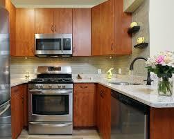 contemporary kitchen with tile backsplash