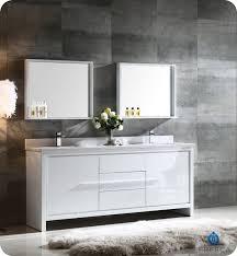 fresca allier 72 white modern double sink bathroom vanity w mirror