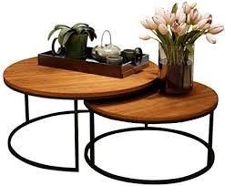 Easily enhance your decor while gaining a practical storage solution with this nesting metal and wood accent table set. Amazon Com Mid Century Coffee Nesting Tables Natural Eco Friendly Wood For Loft Apartment Small Spaces Set Of 2 Furniture Decor