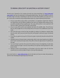 Creativity Essay To Bring Creativity In Writing A History Essay By Jason Fernandez