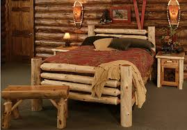 Transitional Bedroom Decorating Ideas With Rustic Log Bed - Transitional bedroom