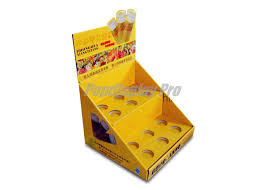 yellow counter top cardboard candy display recycled with 12 round dividers