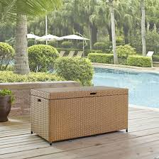crosley furniture palm harbor spacious outdoor wicker storage bin with aluminum frame kitchensource com