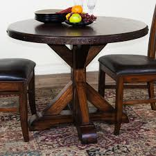pallet textured rustic round dining room table with metal