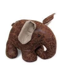 Door Stop Novelty Elephant Door Stopper Animal Faux Leather - Homescapes