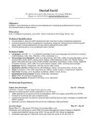 Sample Cover Letter For Java Developer Resume Year Experience In