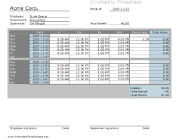 Biweekly Timesheet Excel Biweekly Timesheet With Comp Time Calculation Printable Time
