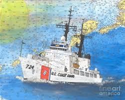 Coast Guard Chart Art Us Coast Guard Cutter Munro Cathy Peek Nautical Chart Map Art