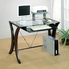 computer desk with glass top and shelf roll out keyboard tray