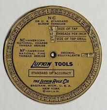 Nc Tap Chart Old Vtg Lufkin Tools Wheel Chart Decimal Equivalent Screw