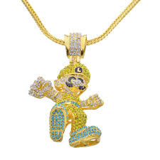 hip hop pendant necklace large size cartoon game necklace bling bling iced out chain jewelry n657 cartoon pendant necklace iced out chain pendant necklace