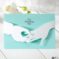 details about blue unique layered wedding invitations 3d marriage ring cards free seal cho2859