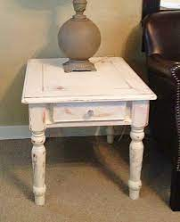 white distressed side end table rustic