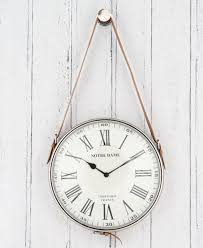 retro colonial tan leather nickel hanging wall clock h 60cm unique