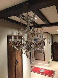 antique glass and brass chandelier