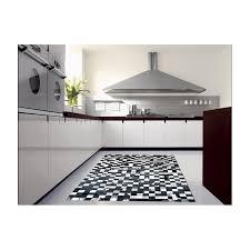 hide rug multicolour black white modern setting