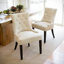 Patterned Dining Chairs Impressive Amazon Janelle Beige Tufted Fabric Dining Chairs Set Of 48