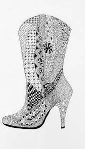 Cowgirl Boot Zentangle Adult Coloring Pagescoloring