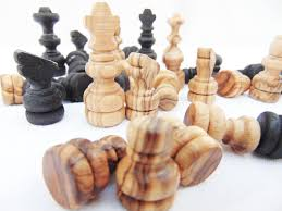 olive wood hand carved medium chess pieces wooden rustic natural black chess pieces birthday