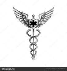 кадуцей пилот крылья Emt звезды татуировки стоковое фото