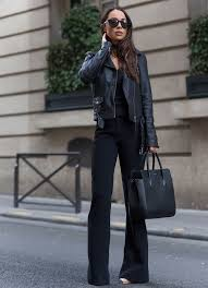 all black outfit with leather jacket