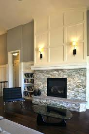 reface brick fireplace cover with stacked stone