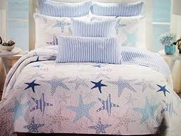Max Studio Starfish Aqua Blues White Stripes 3 PC Quilt Set FULL ... & Max-Studio-Starfish-Aqua-Blues-White-Stripes-3- Adamdwight.com