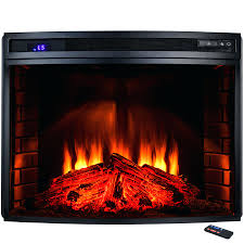 full image for freestanding electric fireplace insert heater black curved tempered glass remote control duraflame stove