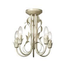 motif 5cr 5 light semi flush ceiling light in cream gold