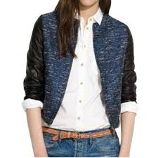 details about 298 xs madewell shimmer tweed eave er leather sleeve jacket