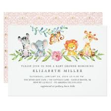 baby girl invite sweet safari animals baby shower invitation