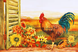 sunflowers and rooster painting
