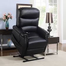 details about classic plush recliner bonded leather fabric power lift reclining chair black