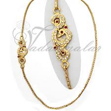 peacock design chain kodi with side pendant mugappu gold toned for sarees salwar
