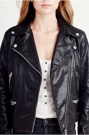 true religion leather moto jacket black women