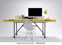 designer office desk isolated objects top view. front view of modern working desk with yellow drawers computer lamp and chair designer office isolated objects top