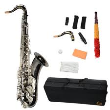 lade new top grade nickel plated brass tenor sax saxophone black with silver abalone shell on tmart