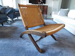 mcm vintage hans wegner style folding chair rope wicker rush yugoslavia yc15 in antiques periods