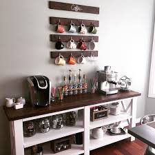 coffee bar and mugs on pinterest built coffee bar makeover