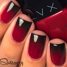 black and red grant nails design for short nails