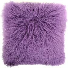 snugrugs mongolian sheepskin cushion 40cm x 40cm purple