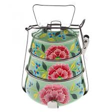 Mint Green Kitchen Accessories Nkuku Mint Green Franjipani Hand Painted Floral Tiffin Nkuku
