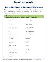transition words and phrases lists and worksheets kreader compare and contrast transition words list