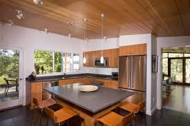 Wood ceiling kitchen Vaulted Ceiling Midcentury Kitchen By Hammer Architects Addicted To Decorating Planked Wood Ceilings and Walls For Every Design Style