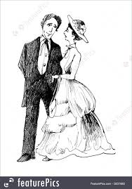 People Vintage Drawing Illustration Of Retro Couple