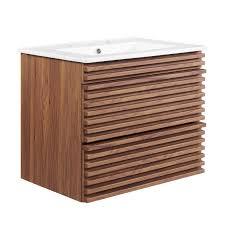 Render 24 Wall Mount Bathroom Vanity In Walnut White Modway